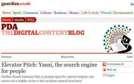 Yasni featured on Guardian UK
